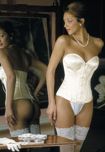 "Low Backed Ivory Satin Overbust Bridal Corset (12.5"" front)"